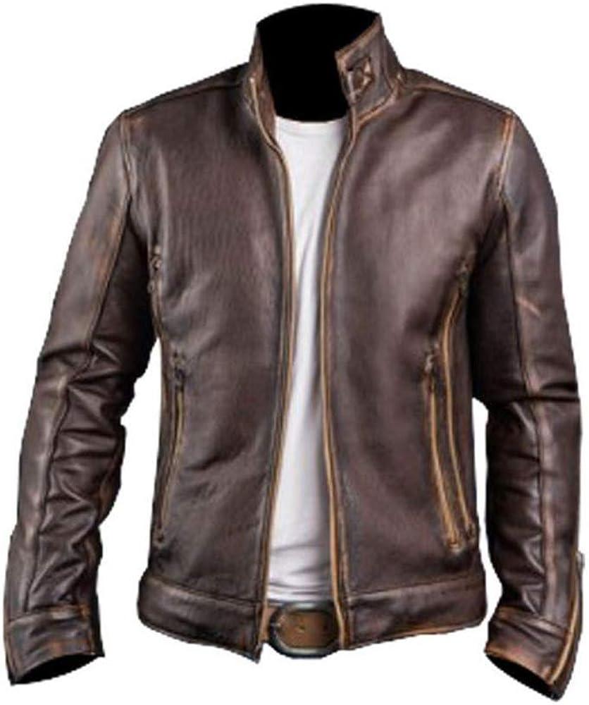 Mens Genuine Leather Jacket Distressed Cafe Racer Biker Style Brown Leather Jacket
