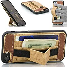Credit Card Case with Stand: iPhone 7 & 8. Wallet + Kickstand + Handle. 3-in-1 Leather Wallet Case by FTA (4.7 Inch Screen) (Cork Brown)