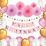 VEYLIN Birthday Decorations for Girls, Happy Birthday Bunting Banner with 6 Paper Fans, 30 Pearl Balloons with Gold Ribbon, Round Garland (Pink)