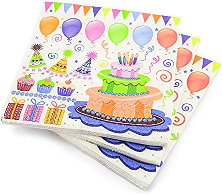 Fabulous 200 Luxury 3 Ply Happy Birthday Cake Balloons Pattern Paper Funny Birthday Cards Online Chimdamsfinfo