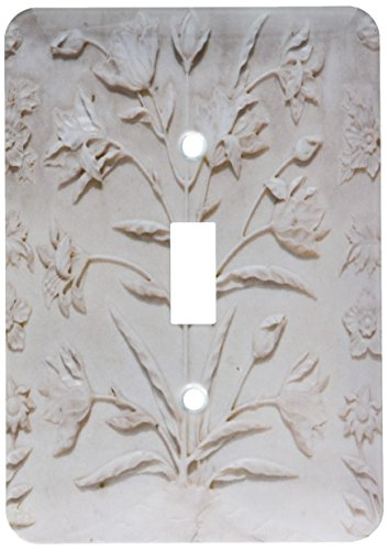 (3dRose lsp_187368_1 Agra, India Taj Mahal, Engraved Floral Designs in White Marble Single Toggle Switch)