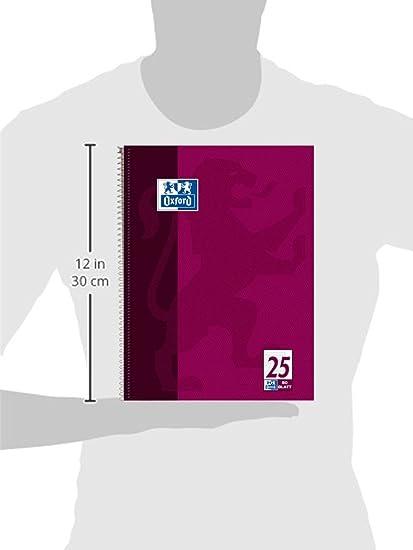 Oxford College 100050355 - Cuaderno de espiral (10 unidades, con rayas, 80 hojas, con margen, 304 x 242 mm, 90 g/m²), color morado: Amazon.es: Oficina y ...