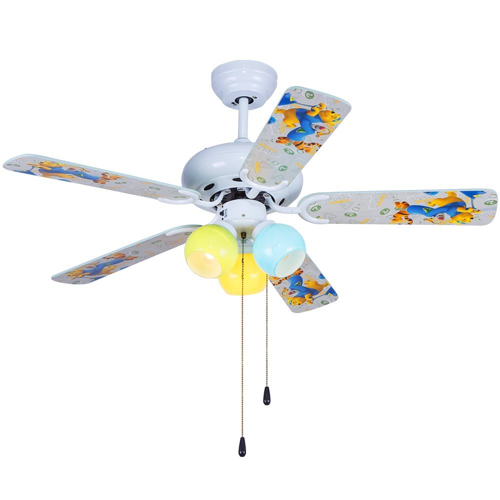 Akronfire Wood Ceiling Fan for Decorate Modern Living Room Bedroom Indoor Pull Chain Control 5-Blades 3-Lights Mute Childrens Fans Chandelier of 42 Inch Multicolor