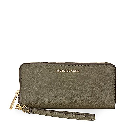Michael Kors Jet Set Travel Leather Continental Wallet- Olive by Michael Kors