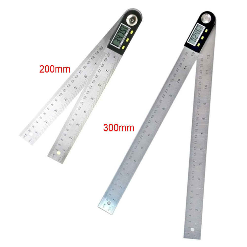 1PC 2-in-1 Digital Electronic Protractor Ruler with LCD Display Stainless Steel Angle Finder Protractor Gauge Ruler for Woodworking Construction Machining(0-300mm) by GEZICHTA (Image #2)
