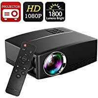 Projector DIWUER Video Projectors 1800 Luminous 180 LED Mini Movie Projector 1080P Full HD Portable Multimedia Projector for Home Cinema Theater Entertainment
