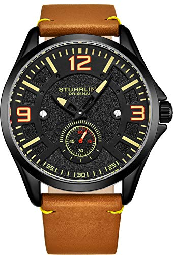 Collection Swiss Quartz Watch - Stuhrling Original Mens Leather Watch -Aviation Watch, Quick-Set Day-Date, Leather Band with Steel Rivets, 699 Men Watch Collection