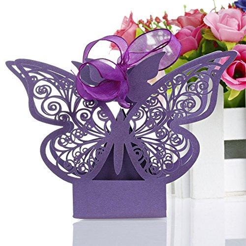 Kangnice Butterfly Wedding Ribbon Purple