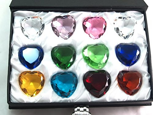 Gift Sapphires Set Diamonds (40mm Sapphire Amber Emerald Crystal Heart Diamond Set of 12)