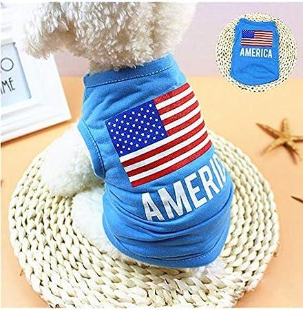 Camisa para mascota con bandera de Estados Unidos, ropa para perros pequeños, vestido para cachorros y