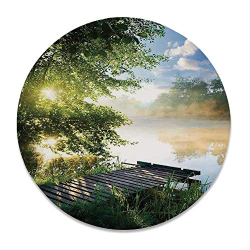 YOLIYANA Art Bright Decorative Plate,Fishing Pier by River in The Morning Light with Clouds and Trees Nature Image Decor Decorative for Weddings,7 inch (Zebra 1 Plates Pier)