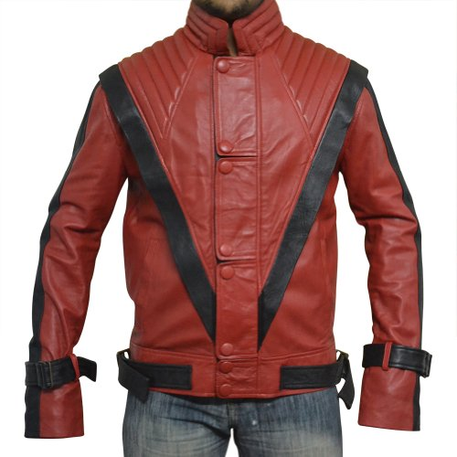 Michael Jackson Thriller Leather Jacket, RED, Faux Leather, 3XL ()