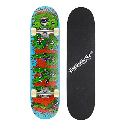 Osprey Complete Beginners Double Kick Trick Skateboard, 31 x 8 Inches Maple...