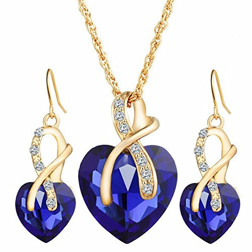 Agate Jewelry Set - Gift! Gold Plated necklace Sets For Women Crystal Heart Necklace Earrings Jewellery Set Bridal Wedding Accessories (Blue)