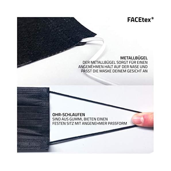 50-St-Vorteilspack-Mund-und-Nasenschutz-Einweg-3-lagig-mit-Vlies-Filter-in-Schwarz-Mundschutz-Maske-mit-Nasenbgel-fr-Brillentrger-geeignet-strapazierfhige-Earloops-Behelfs-Maske