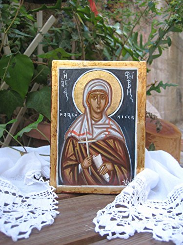 Medium Egg Tempera - Icon of St Phoebe the Deaconess from Corinth byzantine art egg tempera on plywood