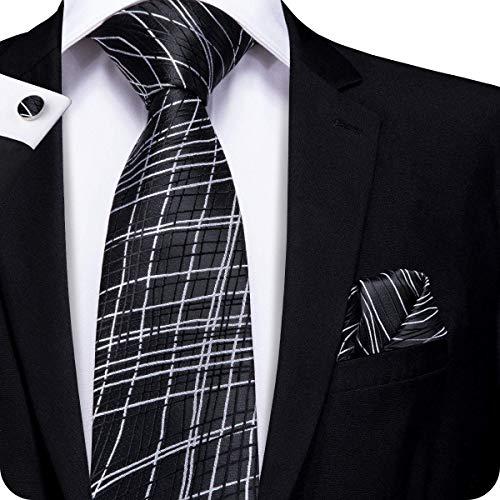 Hi-Tie Men Black White Strings Stripes Tie Handkerchief Necktie with Cufflinks and Pocket Square Tie Set