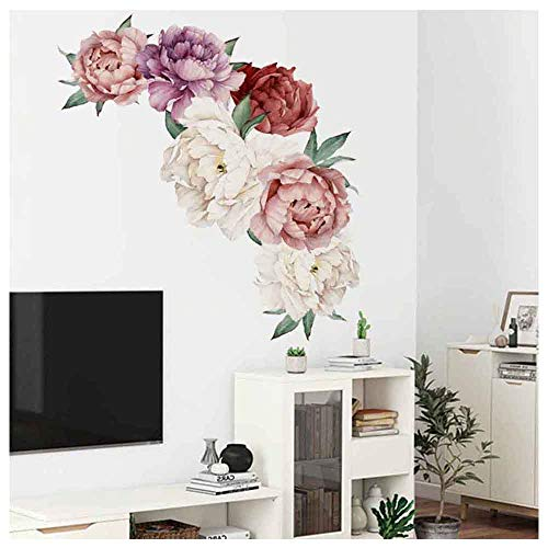 Rose Peony Wall Decals Flowers Wall Murals for Living Room Kids Gilrs Bedroom Sofa Backdrop TV Wall Background Gift, PVC Romovable Vintage Art DIY Wall Decor (B2, 24 x -