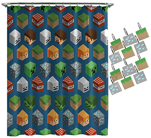 Jay Franco Minecraft Isometric Characters Shower Curtain & 12-Piece Hook Set & Easy Use (Official MinecraftProduct)