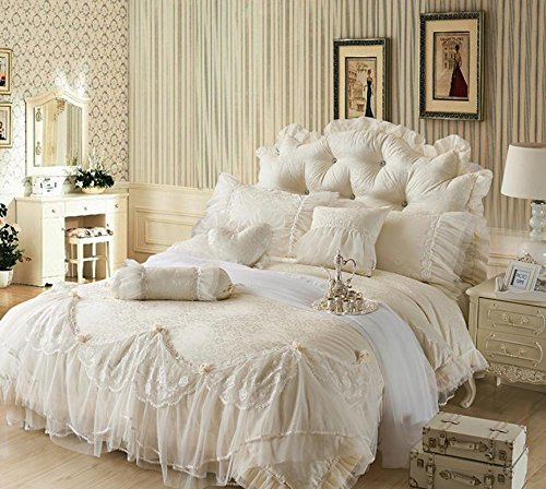 - Luxury Jacquard Silk princess bedding sets queen 6pcs Beige Lace Ruffles duvet cover bedspread bed skirt bedclothes