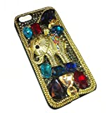 "DECO FAIRY® Handmade Crystal Indian Style Elephant Head Bling Crytal Pearl Rhinestone Diamond Snap on Case Cover for Apple iPhone 6 Plus (5.5"")"