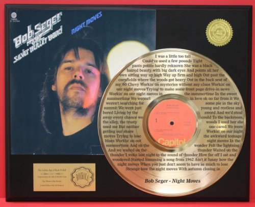 Bob Seger Lyrics To'Night Moves' Laser Etched Into The 24Kt Gold LP Record LTD Edition Display Gold Record Outlet