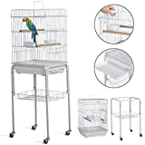 Yaheetech 46.5'' Metal Rolling Bird Cage Parrot Finch Aviary Pet Perch w/3 Front Door/Storage Shelf/Bottom Tray,White