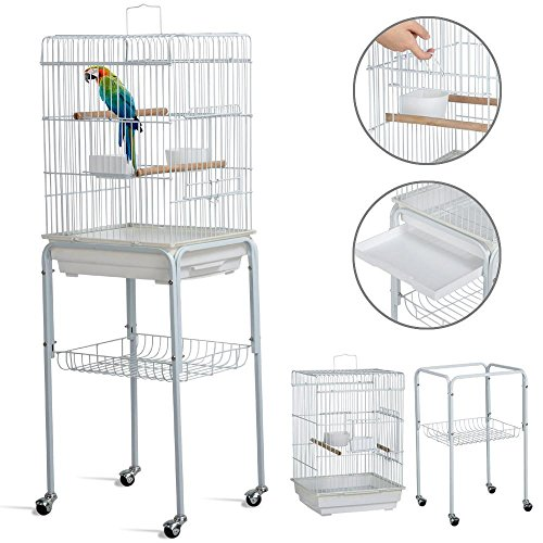 Yaheetech 46.5'' Metal Rolling Bird Cage Parrot Finch Aviary Pet Perch w/Stand White