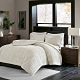 What Are the Dimensions of a Cal King Bed Comforter Set. 3-piece Home Bedding Linens Kit For Bedroom Furniture Includes Comforter, 2 Pillow Shams. Universal Style, Warm & Plush, Textured Chevron Pattern (King/Cal King)