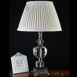 DMMSS White Lattice Shade Crystal Table Lamp