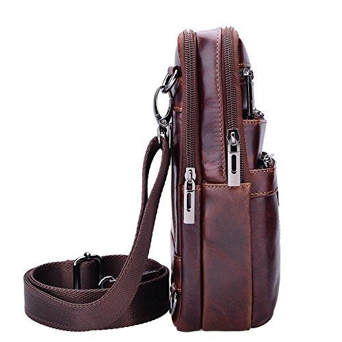 Sunmig Men's Vintage Genuine Leather Shoulder Bag Messenger Bags (brown-3803) by Sunmig (Image #3)