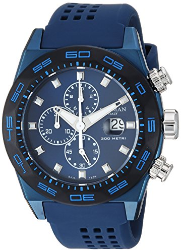 Locman Italy Men's 'Stealth 300 Metri' Quartz Stainless Steel and Rubber Diving Watch, Color:Blue (Model: 0217V4-BKBLNKS2B)