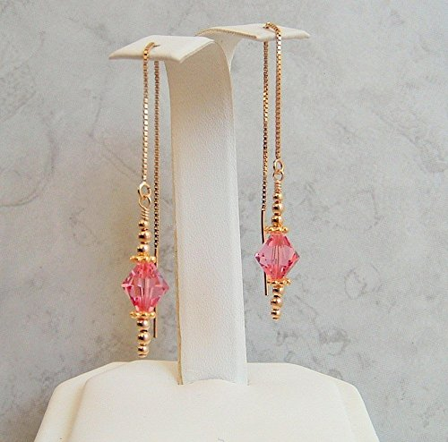 Pink Gold Filled Ear Thread Earrings Simulated Tourmaline October Birthstone Made With Swarovski Crystals Gift Idea ()
