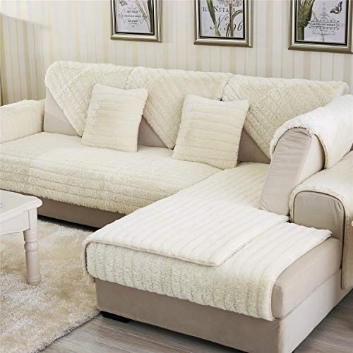 "OstepDecor Velvet Plush Furniture Protector Couch Slipcover Sofa, Loveseat, Recliner, Chair, Machine Washable, Slip Cover Throw Pets, Dogs, Kids, Ivory 36"" x 82"" (90 x 210cm)"