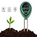 Soil Moisture Meter, OLLIVAN 3-in-1 Soil Moisture Meter, PH Acidity Tester Kit for Moisture and Light, Soil Humidity Meter for Garden, Farm, Lawn, Indoor & Outdoor (Soil Meter 3 in 1 Green)
