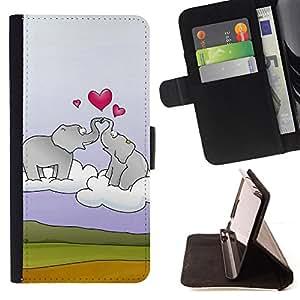 For Apple Apple iPhone 4 / iPhone 4S,S-type Elefante y el corazón- Dibujo PU billetera de cuero Funda Case Caso de la piel de la bolsa protectora