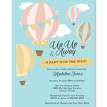 Amazon Com Baby Shower Invitations Up Up And Away Hot Air