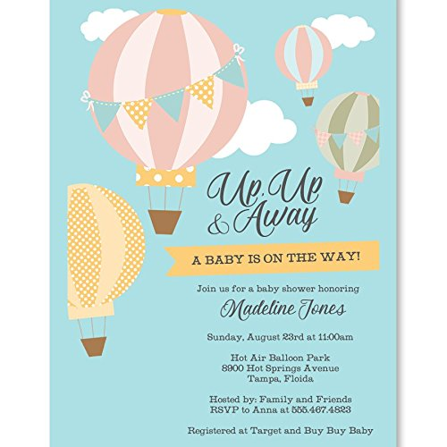 Polka Dots Baby Shower Invitations - Baby Shower Invitations, Up Up and Away, Hot Air Balloon Baby Shower, Blue, Sky Blue, Yellow, Grey, Gray, Pink, Green, Brown,Clouds, Polka Dots, Stripes, 10 Custom Printed Invites with White Envelopes