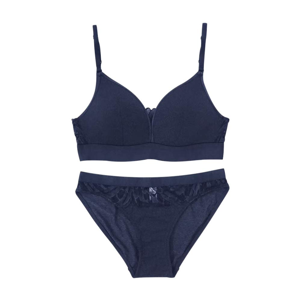 bluee2 Guoeappa Women's Smooth Wire Free Lightly Padded Longline Lace Triangle Contour TShirt Bra and Panty Set