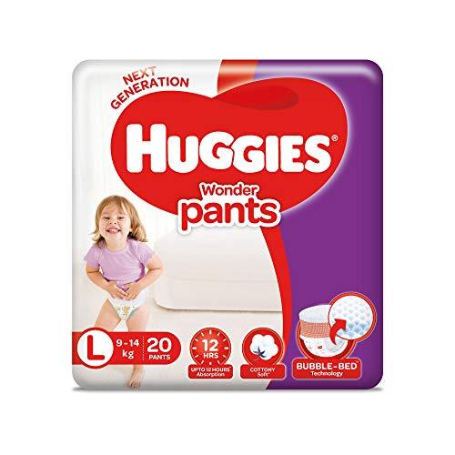 Huggies Wonder Pants Large  L  Size Diaper Pants, with Bubble Bed Technology for comfort,  9.0 kg   14.0 kg   20 count