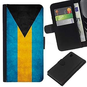 BearCase / Cuero de la tarjeta la carpeta del tirón Smartphone Slots Protección Holder /// Sony Xperia Z1 L39 /// Bandera de la nación País Bahamas Nacionales