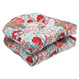 Cheap Pillow Perfect Outdoor Suzanne Spring Wicker Seat Cushion, Multicolored, Set of 2