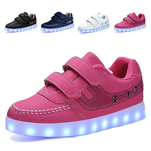 LED Light Up Fashion Flashing Sneaker Breathable Shoes for Kids Boys Girls Christmas Halloween Gift(Pink 4 M US Big Kid)
