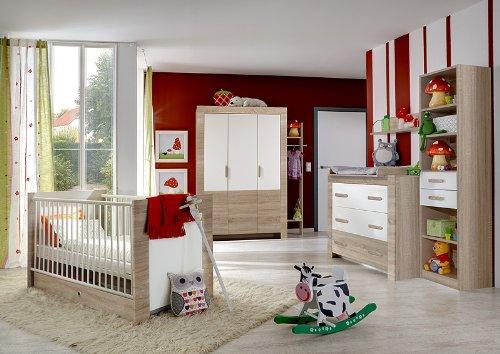 8-tlg Babyzimmer Eiche sägerau - weiß Kleiderschrank Wickelkommode Babybett