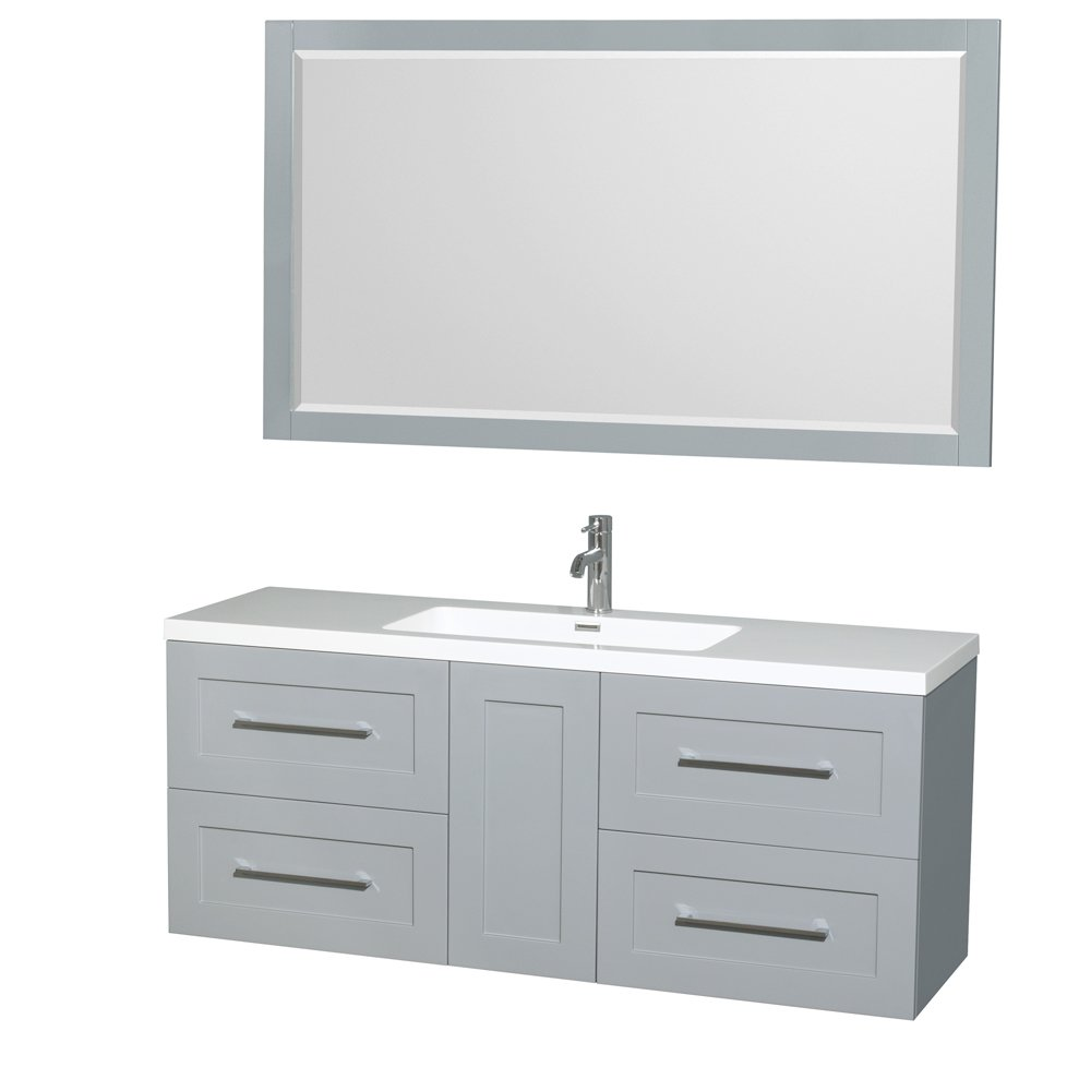 Wyndham Collection Olivia 60 inch Single Bathroom Vanity in Dove Gray, Acrylic Resin Countertop, Integrated Sink, and 58 inch Mirror