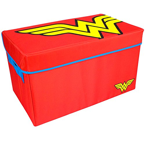 Wonder Woman Collapsible KidsToy Storage Chest byDC Comics - Flip-Top Toy Organizer Bin for Closets, Kids Bedroom, Boys & Girls Toys - Foldable Toy Basket Organizer with Strong Handles & Design