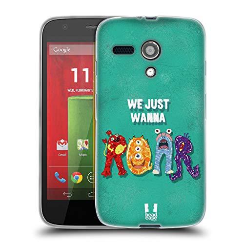 Head Case Designs Roar Typography Monsters Soft Gel Case for Motorola Moto G (1st - G Monster Moto Case