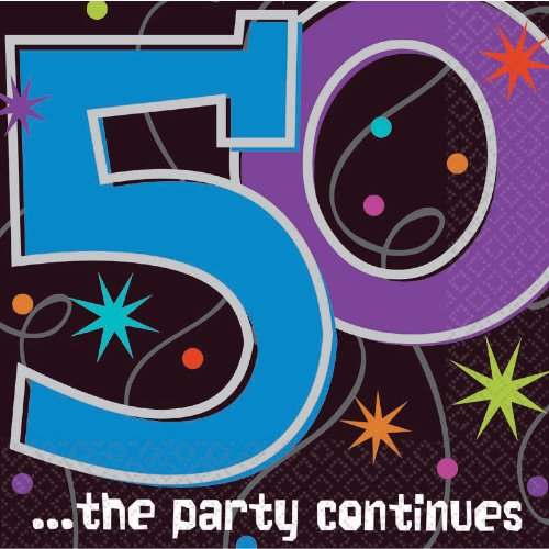 The Party Continuous 50th Birthday Party Luncheon Napkins Tableware, Pack of 16, Multi , 6.5'' x 6.5'' Paper