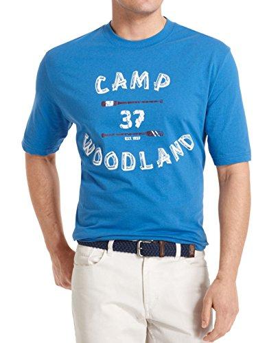 IZOD Big and Tall Men's Camp Woodland Graphic T Shirt-Deepwater-2XLT