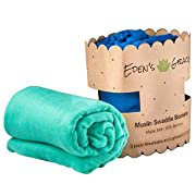 """Muslin Swaddle Blanket 2 pack By Eden's Grace- """"Navy Blue and Teal Green""""- Extra Large 47 x 47 inch-Ultra Soft Bamboo Swaddle Blankets- Perfect Baby Shower Gift"""